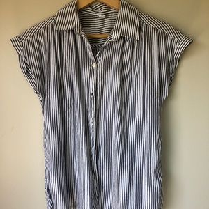 Pin-Striped Short Sleeved Button Down with Collar